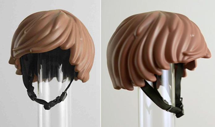 Para colocar na lista de desejos: capacete de cabelo de LEGO!