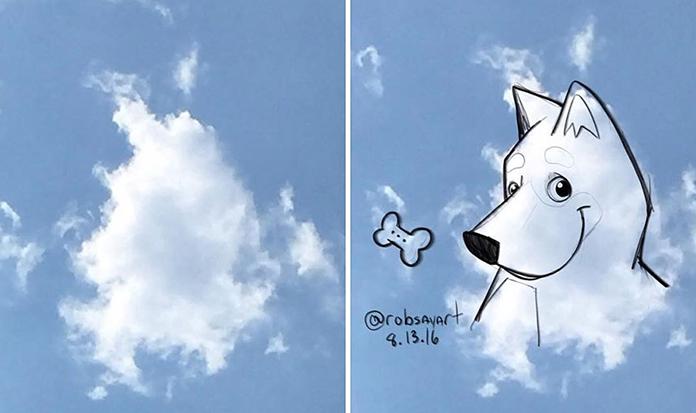 Artista usa forma em nuvens para criar ilustrações super legais.