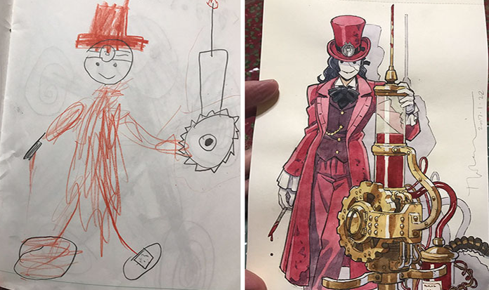 Pai transforma desenhos dos filhos em personagens de anime!