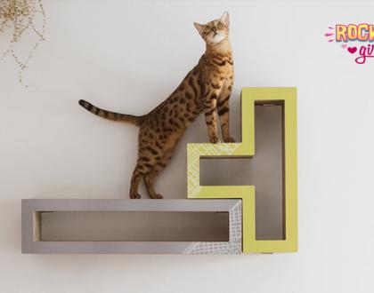 Essa incrível estante para gatos tem formato de peças de TETRIS!