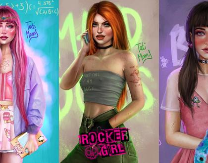 Ilustradora recria personagens infantis em suas versões 'gótica suave'